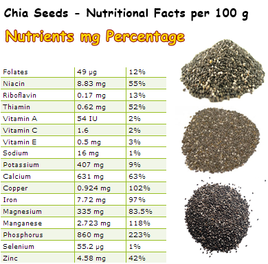 Nutritional Facts Chia Seeds