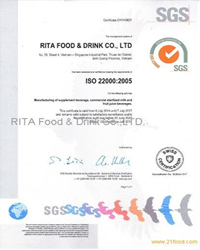 Certificate ISO of RITA Beverage