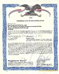 Certificate FDA of RITA Beverage