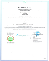 Certificate USDA of RITA Beverage