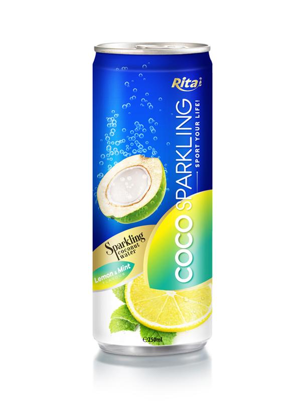 ... Vietnam - 250m Alu Can Lemon & Mint Flavour Sparkling Coconut Water