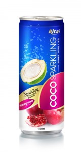 250m Alu Can Pomegrante Flavour Sparkling Coconut Water