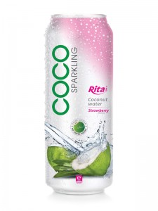 500ml alu can Strawberry flavor with sparking coconut water