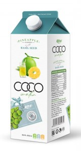 Coconut water basil seed with pineapple flavour 1L