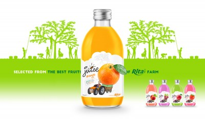 Design Glass bottle FRUIT JUICE  Orange