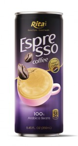 Espresso Coffee 100 percent arabica beans  250ml canned