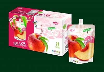 Peach juice in bag