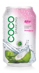 Sparking coconut water with strawberry