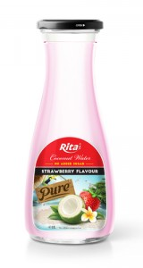 Strawberry Flavour Coconut water 1L Glass bottle