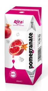 fruit pomegranate in tetra pak